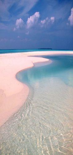 Beach with a lagoon on a inhabited island, Maldives