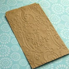 20 Small Kraft Paper Bags Embossed Flourish by SomersetMarket, $6.95