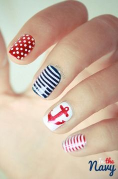 nautical nails, navy nails, great nails for homecoming! Cute Nails, Pretty Nails, Gorgeous Nails, Sailor Nails, Nail Art Designs, Nautical Nail Art, Nautical Theme, Nautical Design, Sea Theme