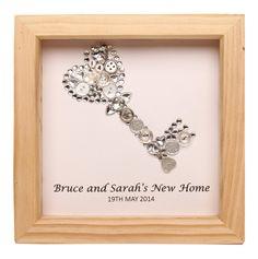 Personalised framed silver key artwork by LavenderHouseGiftCo