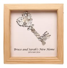 Personalised framed silver key artwork by LavenderHouseGiftCo