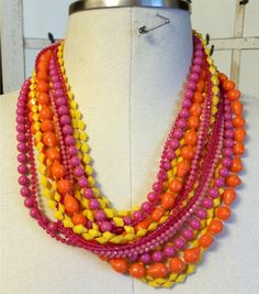 """2 Vintage 1960s Plastic Celluloid lime Orange Pink Yellow Necklaces with 10 Strands of Beads 56"""" Long by NativeBliss on Etsy"""