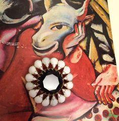 Large Vintage Brooch pin Milk Glass white prong by TobysArtwear