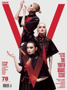 V Magazine, July 2012 #cover | Daniela Braga, Kati Nescher, and Stef Van Der Laan by Sebastian Faena