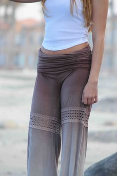 a45c36ddfcf Ombre dye palazzo pants with lace insets and ruched fold-over waist. Wide  leg to accommodate even plus size women.