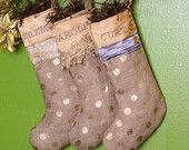 Silver and Gold personalized Burlap Shabby chic Christmas stocking. $38.00, via Etsy.
