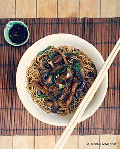 Mushroom noodles - fab speedy midweek meal using leftover roast pork