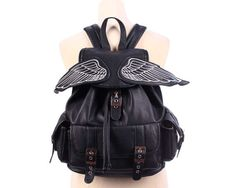 LARGE Vegan Leather Backpack 90s WINGED RUCKSACK by BetaApparel