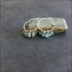 Blue Aquamarine Hoop Earrings Sterling Silver March by balanced