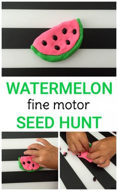 Strengthen fine motor skills with this simple play dough activity! Toddlers & preschoolers will love this simple must-do watermelon fine motor seed hunt.