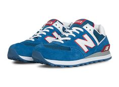 New Balance 574, Blue with White  Red