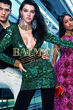 The amazing campaign images have arrived! Here, the striking Kendall Jenner poses along fellow supermodels Hao Yun Xiang and Jourdan Dunn in a photo taken by Mario Sorrenti. #HMBALMAINATION | Balmain x H&M