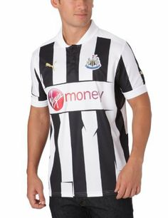 Newcastle United Home Football Shirt 2012-13 by PUMA. $62.19. 100% Polyester.. Moisture control mesh panels for supreme ventilation.. Embroidered official logo.. Note:  Soccer jersey only.. Official licensed product of Puma.  Embroidered official Newcastle United club badge.. Newcastle United / Magpies fans:  Newcastle United made a very strong run at the EPL last soccer season after being relegated the year before.  With #10 BEN AFRA and #19 DEMBA BA, the Magpies...