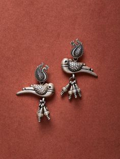 The Loom- An online Shop for Exclusive Handcrafted products comprising of Apparel, Sarees, Jewelry, Footwears & Home decor. Indian Jewelry Earrings, Silver Jewellery Indian, Silver Hoop Earrings, Jewelery, Silver Jewelry, Bird Earrings, 925 Silver, Antique Silver, Jewelry Party