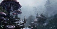 land of the giganto mushrooms by jameswolf.deviantart.com on @deviantART