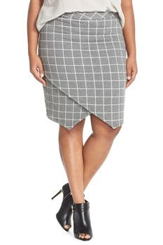 JUNAROSE Faux Wrap Jacquard Pencil Skirt (Plus Size)