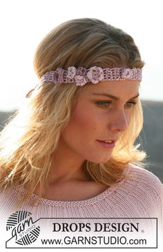 """Ravelry: 105-16 crochet hair band with flowers in """"Cotton Viscose"""" pattern by DROPS design"""