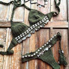 ☮ American Hippie Bohéme Boho Style ☮ Bikini Beach Fashion, Cute Bikini, Sexy B Tops A Crochet, Knit Crochet, Bikini Fashion, Boho Fashion, Beach Fashion, Style Fashion, Seashell Bikinis, Mode Boho, Boho Green
