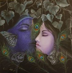 Rakhi Baid and her Krishna consciousness Indian Traditional Paintings, Indian Paintings, Lord Krishna Images, Krishna Photos, Drawing Wallpaper, Hd Wallpaper, Illusion Drawings, Krishna Radha, Radha Rani