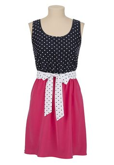 Belted 2fer Dot Print Tank Dress available at #Maurices