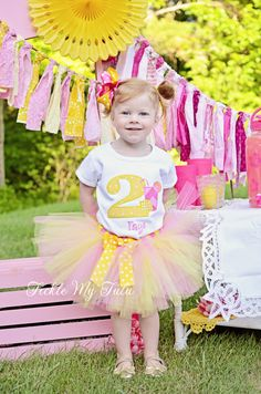 Pink Lemonade Themed Birthday Tutu Outfit, Pink and Yellow Lemonade Stand Birthday Tutu Set, First Birthday Lemonade Party Outfit on Etsy, $54.95