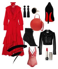 """RedHot"" by rachel-kenington on Polyvore featuring Jimmy Choo, Rejina Pyo, Oscar de la Renta, Clare V., Christian Louboutin, Yves Saint Laurent and Ginette NY"