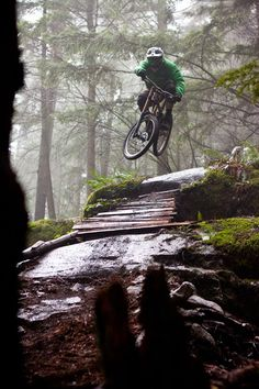 Out on the trail- misty mountain bike jumpe
