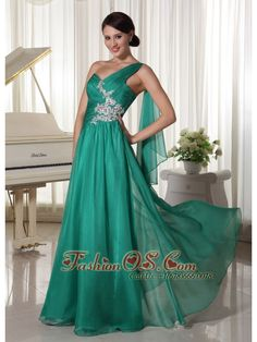 Designer Turquosie One Shoulder Appliques and Ruch Decorate Bust Chiffon Prom Dress For Formal Evening Turquoise Prom Dresses, Royal Blue Prom Dresses, Pretty Prom Dresses, Discount Prom Dresses, Prom Dresses For Sale, Prom Dresses Online, Dresses 2013, Senior Prom Dresses, Prom Party Dresses