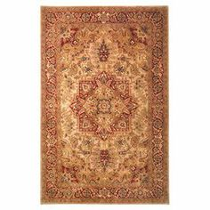 """Showcasing an ornate scrolling motif in light gold and red, this hand-tufted wool rug brings rich style to your decor. Made in India.   Product: RugConstruction Material: WoolColor: Light gold and redFeatures:Hand-tuftedPile Height: 0.625"""" Note: Please be aware that actual colors may vary from those shown on your screen. Accent rugs may also not show the entire pattern that the corresponding area rugs have.Cleaning and Care: Professional cleaning recommended"""