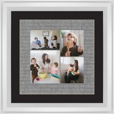 Overlap Photo Gallery of Four Framed Print, White, Classic, Cream, Black, Single piece, 16 x 16 inches