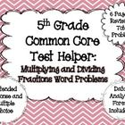 I have created this resource as a test prep material to help prepare my students for testing. I have included extended response problems and multiple choice problems to help prepare the students for multiple testing situations. Real Teacher, Teacher Stuff, Teaching Resources, Teaching Ideas, Fraction Word Problems, Constructed Response, Dividing Fractions, Math Numbers, Math Workshop