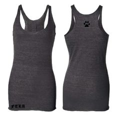 FTLA TRIBLEND RACERBACK - CHARCOAL HEATHER - SINGLE PAW PRINT hand Silkscreened on the back between the shoulder blades.