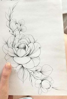 Untitled - Untitled The Effective Pictures We Offer You About tattoo arm A quality picture can tell you many - Peony Drawing, Floral Drawing, Drawing Flowers, Painting Flowers, Flower Tattoo Drawings, Flower Tattoo Designs, Peony Flower Tattoos, Tulip Tattoo, Floral Thigh Tattoos