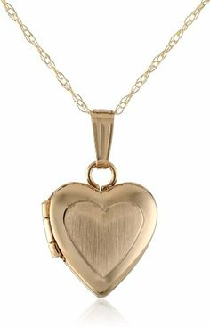 """Girls' 14k Gold Children's Petite Heart Satin Center and Polished Edge Locket Pendant Necklace, 13"""" Amazon Curated Collection,http://www.amazon.com/dp/B00GRTUEUY/ref=cm_sw_r_pi_dp_2UT9sb1B62GW28N9"""