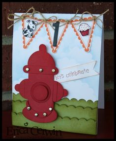 "Fire Hydrant Punch Art-Stamps: ABC Pictures (Retired,) Family Phrases, Party This Way, Every Little Bit   Ink and Paper: Riding Hood Red, Old Olive, Pumkin Pie, Bashful Blue, Whisper White, Basic Black   Other: Punches; Scallop Border, 1"", 3/4"", 5/8"" circles,Medium Oval, Scallop Circle, and Word Window, Silver brads, twine, Stampin Dimensionals, Stampin Sponges, Thickers (non SU)"