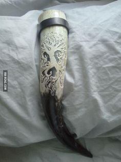 Beautifully engraved drinking horn. Drink like a viking!
