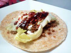 Homemade ground beef burrito