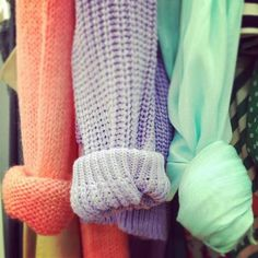 Pastel sweaters.