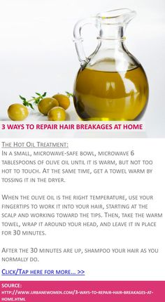3 ways to repair hair breakages at home - The hot oil treatment - Click for more: http://www.urbanewomen.com/3-ways-to-repair-hair-breakages-at-home.html