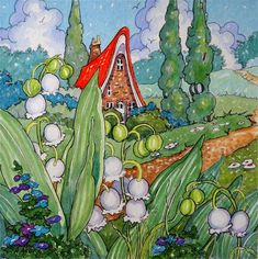 """Daily Paintworks - """"Lily of the Valley Cottage Storybook Cottage Series"""" - Original Fine Art for Sale - © Alida Akers"""
