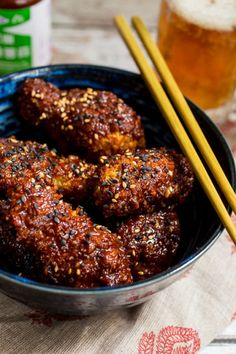 Oven Baked Korean Fried Chicken from The Girl In The Little Red Kitchen- maybe without the breading