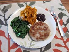 turkey burger with BBQ sauce, mashed sweet potatoes, and steamed spinach