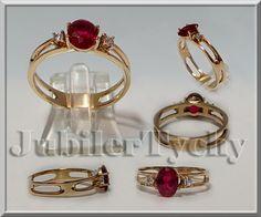 Złoty Pierścionek cyrkonia x 2szt + rubin 7x5 mm Złoto / Gold 585 Jubiler Tychy