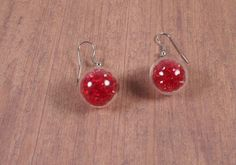 Pendientes cristal rojo. Esferas cristal. Pendientes esfera/ red glass earrings