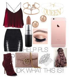 """""""I do not know what this is"""" by laylaurena ❤ liked on Polyvore featuring Messika, Sam Edelman, MAC Cosmetics, Bloomingdale's, Gucci and Jon Richard"""