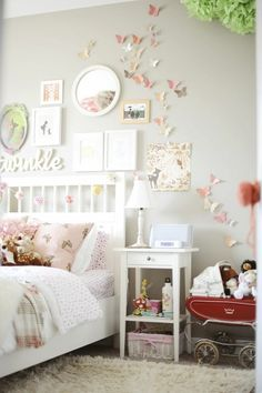 shabby chic girls bedroom - butterflies on wall I like this look, already have the butterflies, but need the pieces to add in purple