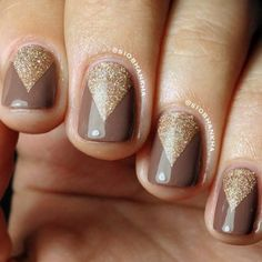 Essie Hot Coco, with triangles in OPI DS Classic. Personally, I would use the DS Classic just for the tips.