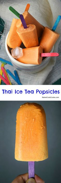 Creamy refreshing thai ice tea popsicles are made with just 4 ingredients and are sure to please everyone around! NaiveCookCooks.com #pops #summer #popsicles #desserts #icecream #thai #tea