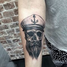 beard skull nautical tattoo pencil sketch with sailor