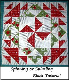 Spinning or Spiraling Block tutorial from Happy Quilting, 16 inch block